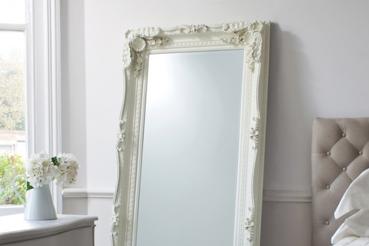 Carved Louis Leaner Mirror Cream White Painted Leaner Mirror French Style Large Mirror