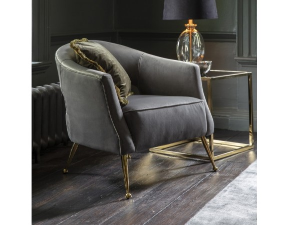 Barletta Grey Velvet Armchair