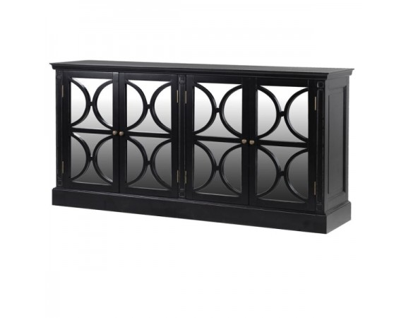Black 4 Drawer Mirrored Sideboard