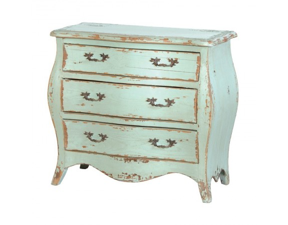 Alsace French Heavy Distressed Turquoise Small Chest of Drawers