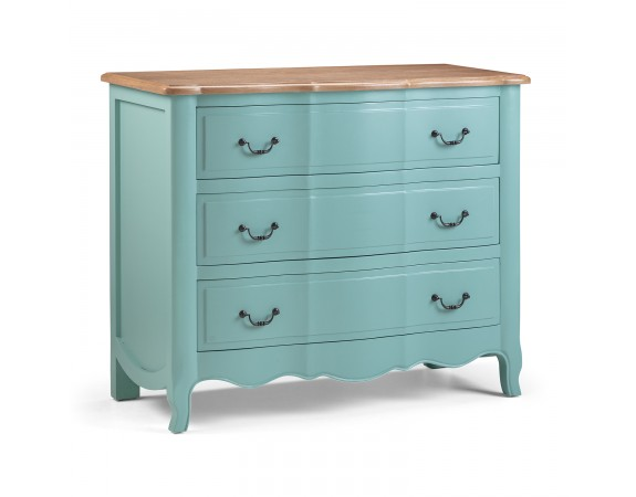 Alsace Turquoise Distressed / Aged French 3 Drawer Chest