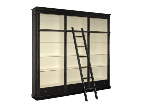 Black Library Bookcase with Ladder