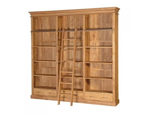 Tuscany Oak Bookcase with Ladder