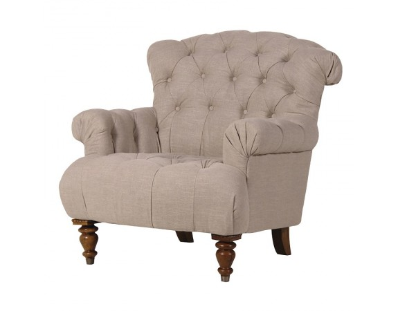 Buttoned Linen Armchair