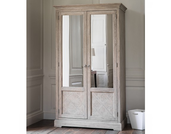 Camille French Style Double Wardrobe Washed Oak French Wardrobes French Bedroom Furniture