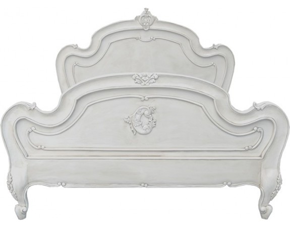 Carved Louis XV Bed - Antique White