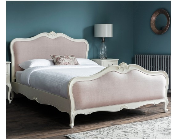 Charlotte Upholstered Painted Ivory Bed Set