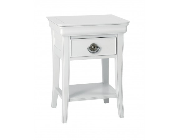 Clifton White Sleigh French 1 Drawer Nightstand