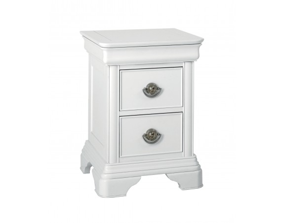 Clifton White Sleigh French 2 Drawer Nightstand