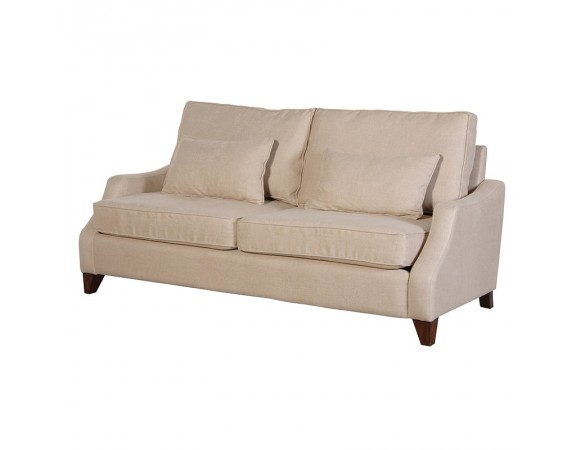 Contemporary Cream Linen 3 Seater Sofa