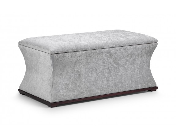 Grey Velvet Upholstered Storage Bench