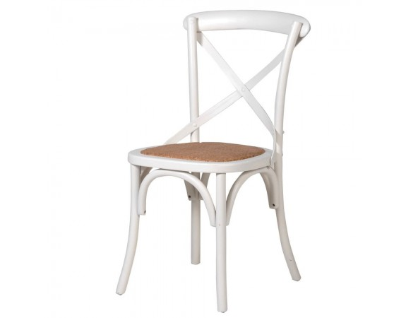 Cream Cross Back Dining Chair