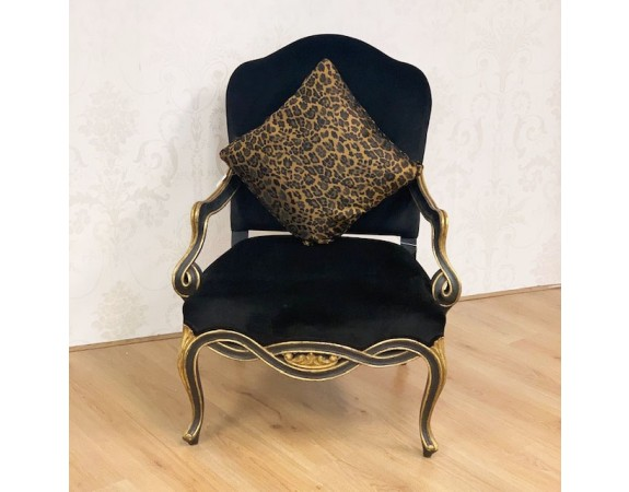 Gold and Black French Armchair