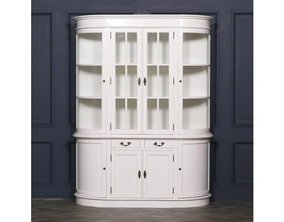 French Large White Curved Display Cabinet