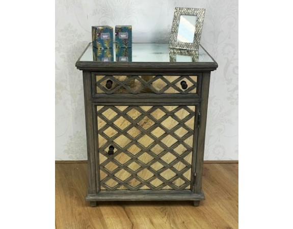 French Contemporary Mirrored Pot Cupboard