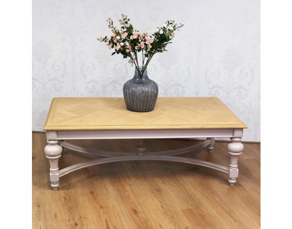French Pink Coffee Table with Parquet Top