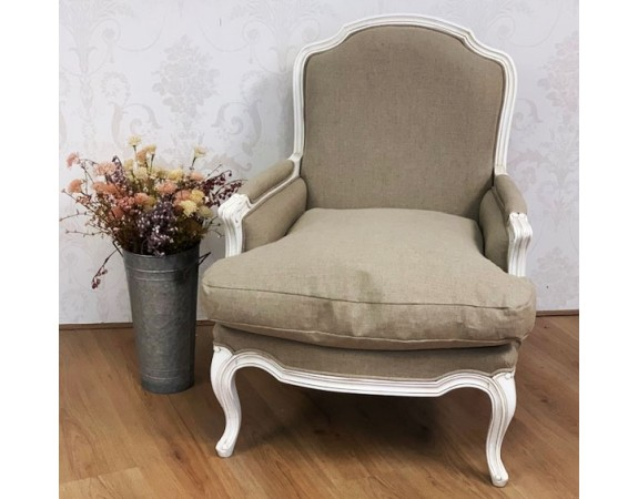 French White Linen Armchair