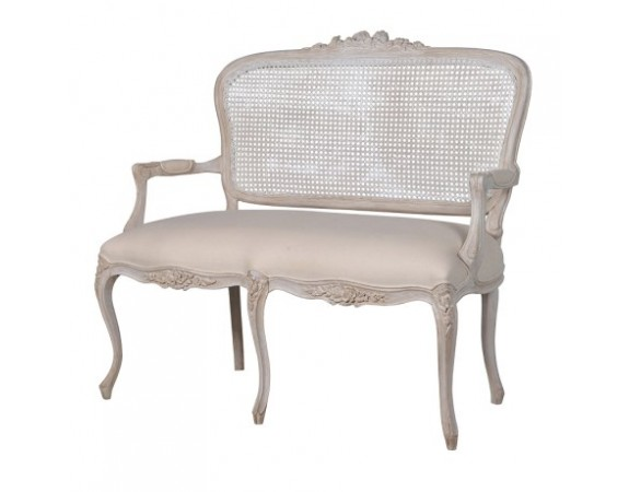 French White 2 Seater Rattan Sofa