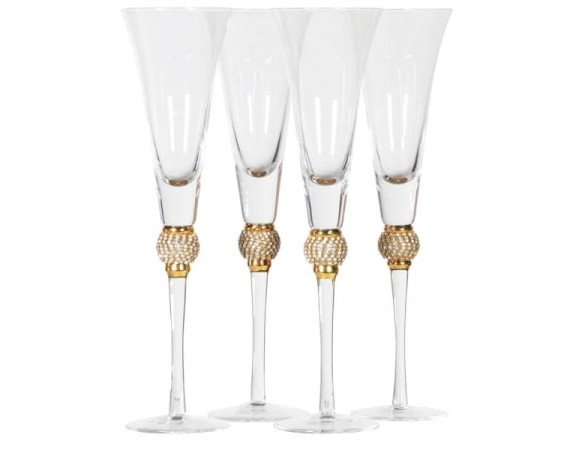 Gold crystal champagne flutes