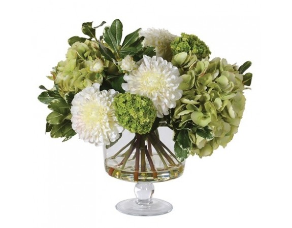 Mixed White and Greens Hydrangeas and Dahlia Floral Arrangement