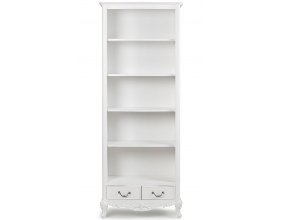 Ivory French Inspired Tall Bookcase with Drawers