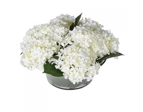 White Hydrangea Annabelle Arrangement in Leaf Glass Bowl
