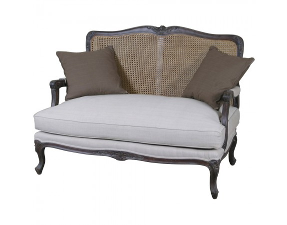 Louis French 2 Seater Sofa with Rattan Back