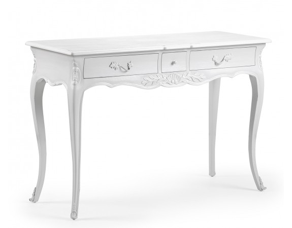 Louis French Antique White Console Tables