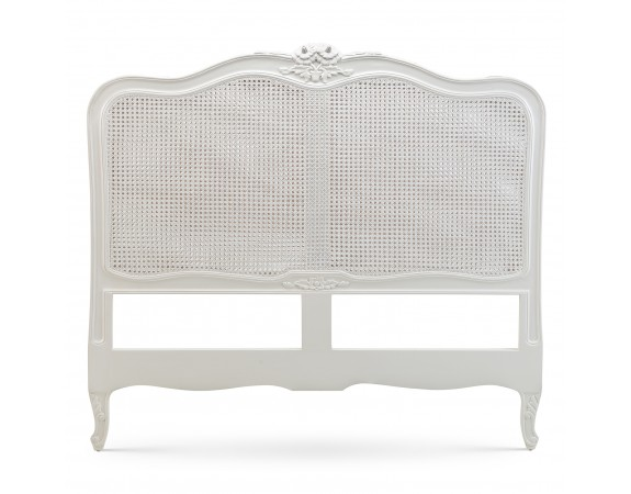 Louis French Rattan Headboard / Finished in Chalk