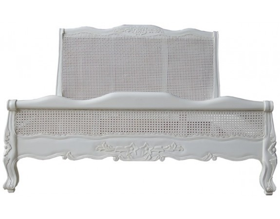 Louis Rattan Low Footboard French Bed - Antique White