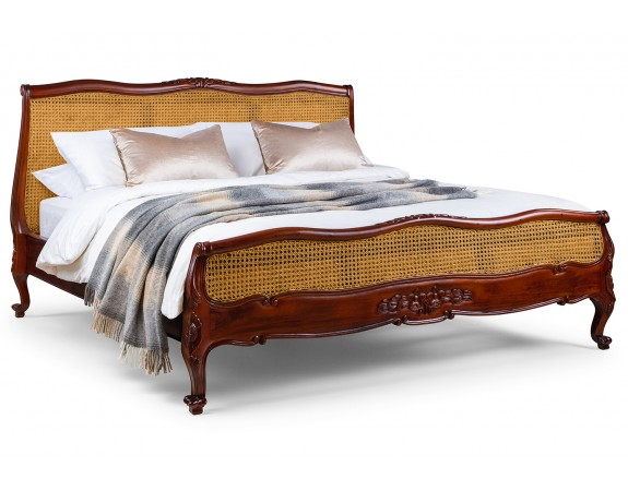 Louis French Rattan Bed with Low Footboard - Mid mahogany