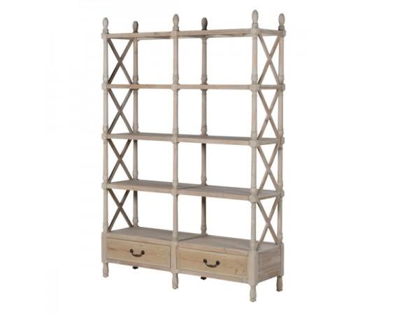 Lustre Natural Wood Double Shelf Unit