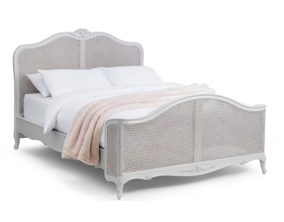 Parisian Grey French Inspired Rattan Bed
