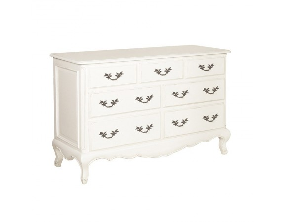 Antique White Provencale Painted French 7 Drawer Chest