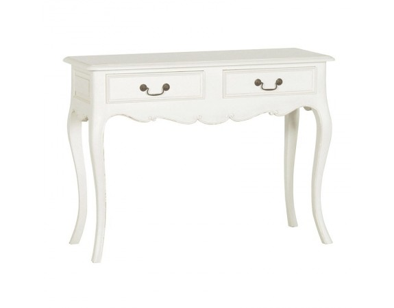 Antique White Provencale French Hall table with 2 Drawers