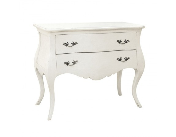 Antique White Provencale French Cabriole Leg Chest