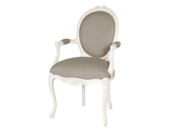 Provencale Antique White Ribbon Armchair Linen Upholstered