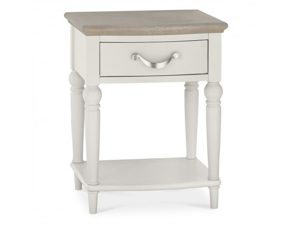 Richmond French Contemporary Washed Oak Top Bedside Table