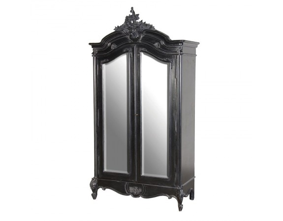 Rochelle Noir 2 Door French Mirrored Armoire