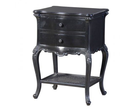 Rochelle Noir French Bedside Table with Rattan Shelf