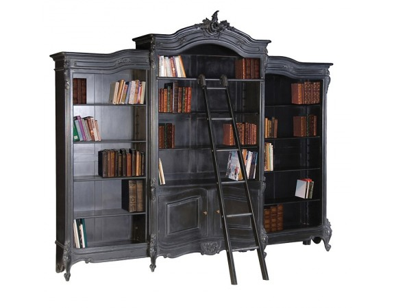 Rochelle Noir French Triple Bookcase with Ladder