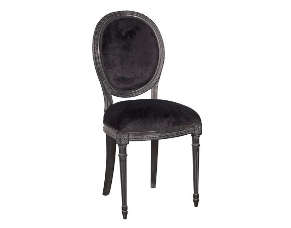 Rochelle Noir French Velvet Dining Chair