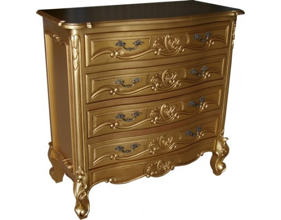 Rococo chest of drawers gold antique gold chest of for Baroque reproduction furniture