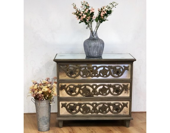 French Rustic Mirrored Chest of Drawers