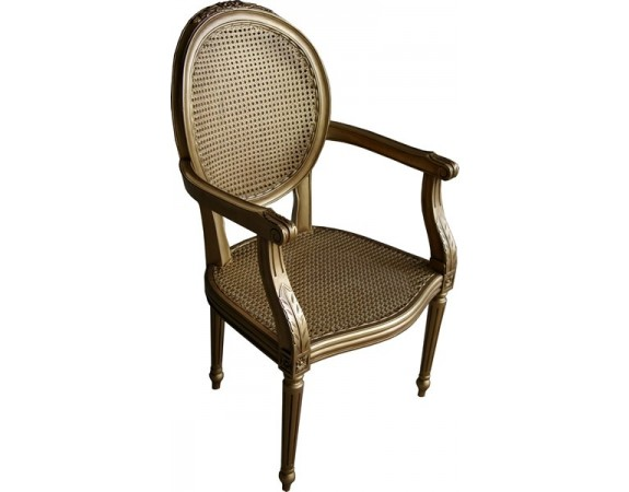 Salon Chair with Rattan - Antique Gold