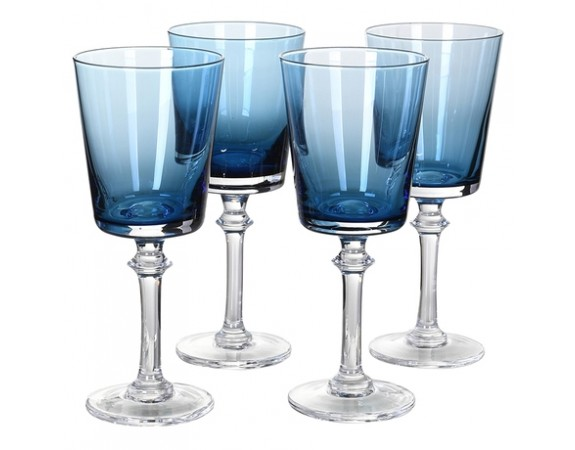 Set of 4 Blue Wine Glasses