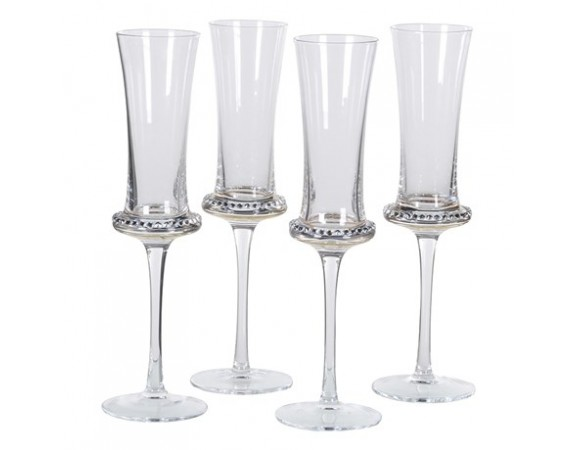 Set of 4 Diamante Shaped Flute Glass