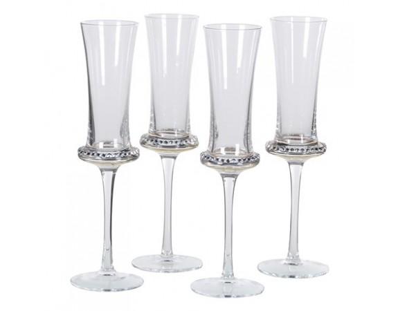 Set of 4 Diamante Shaped Flute Glass