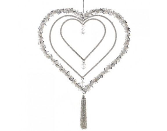 Silver Beaded Triple Heart Ornament