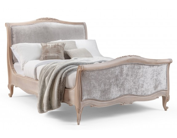 Silver/Grey Velvet French Style Bed